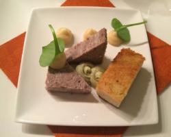 Terrine de faisan, compote de coing, crème de pistache et brioche toastée à l'huile de cèpes
