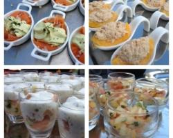 Saumon fumé/espuma d'avocat, pêche au thon, pomme/concombre/saumon/crème acidulée, tomates/fêta/basilic