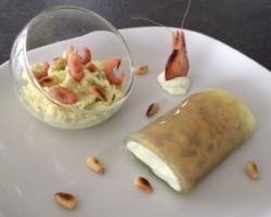 Cannelloni de concombre aux crevettes/yuzu/tartare et espuma de guacamole