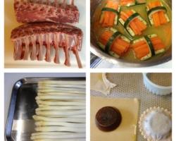 Agneau/panier du jardin, asperges blanches de Malines, ravioli de sauce (gélifiée)