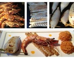 Encornet farci, gambas grillées, asperges à la plancha (huile de chorizo), pâtes à la grecque