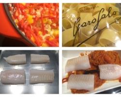 Filets d'aiglefin (cuit vapeur), pâte, poivrons