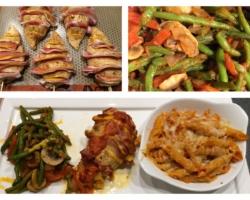 Filets de volailles et pâtes gratinés, haricots à la provençale