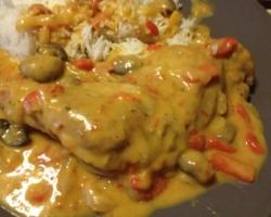 Poulet à l'espagnole (poivrons/champignons/tomates), riz